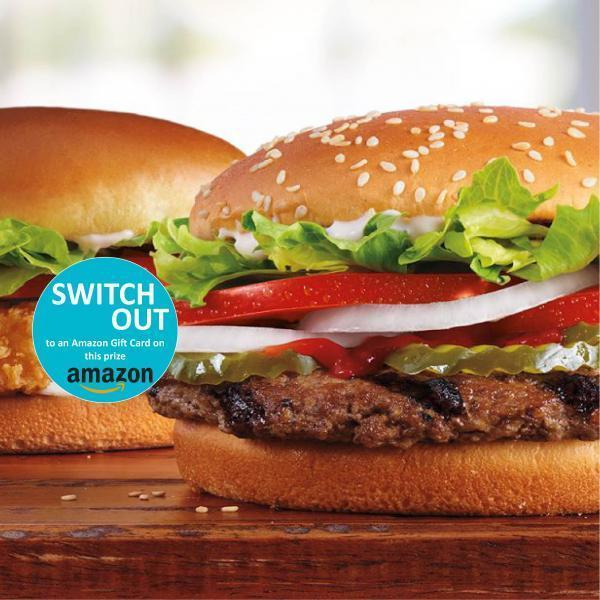 Win a $15 Burger King or Amazon Gift Card
